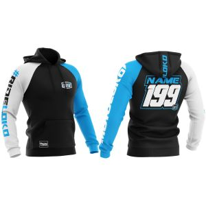 Front & back of blue customised premium motorsports hoodie