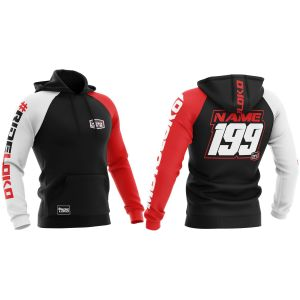 Front & back of red customised premium motorsports hoodie