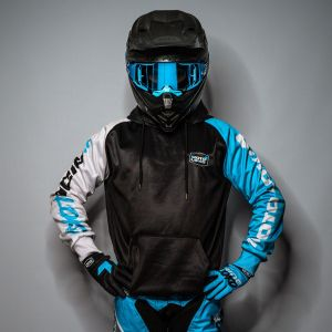 Blue Boxed customised motorsports hoodie showing front and back