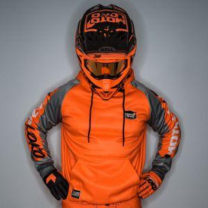 Model wearing an Orange Customised Hoodie