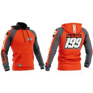 Front & back of orange brushed motorsports customisable hoodie