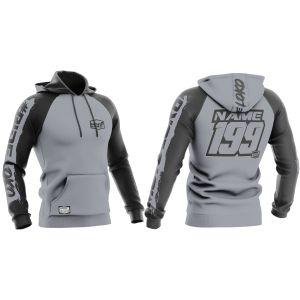 Front & back grey brushed motorsports sublimated hoodie with example customisation