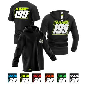 sublimated black motorsports pit pack showing t-shirt, hoodie and softshell jacket with colour options for customisation