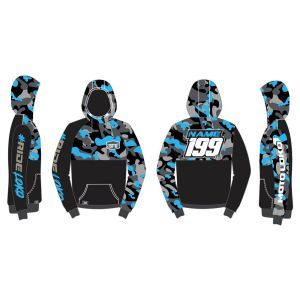 Blue Camo customised motorsports hoodie showing front and back
