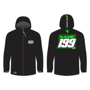 Green Softshell Jacket mockup showing front and rear, with customised Name & Number