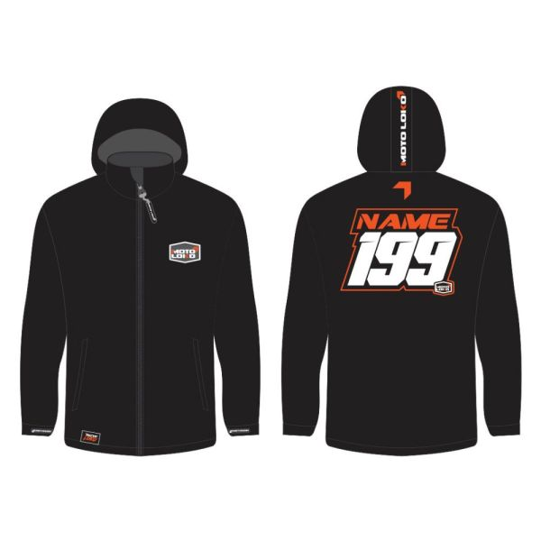 Orange Softshell Jacket mockup showing front and rear, with customised Name & Number