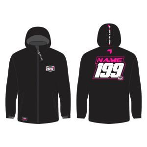 Pink Softshell Jacket mockup showing front and rear, with customised Name & Number