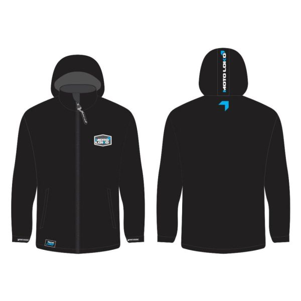 Blue Softshell Jacket mockup showing front and rear, without customisation.
