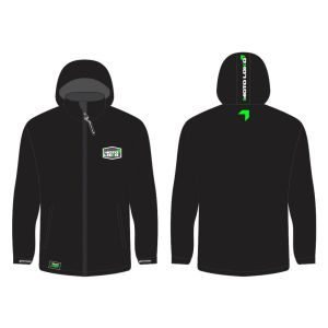 Green Softshell Jacket mockup showing front and rear, without customisation.