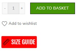 Screenshot showing the location of the size guide on our product pages