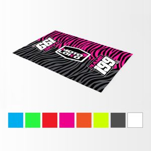 multiple colour options of primal black bike mat with example customisation