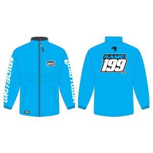 Blue rain jacket mockup showing front and rear, with customised Name and Number