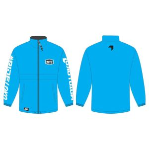 Blue rain jacket mockup showing front and rear