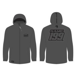Grey softshell jacket mockup showing front and rear, with customised Name and Number