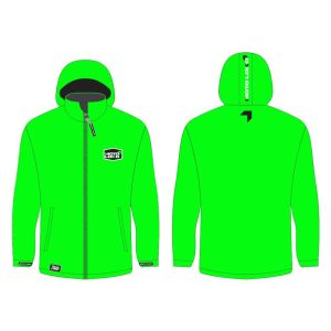 Green softshell jacket mockup showing front and rear