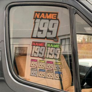 Multicoloured customised name and number window sticker on van window