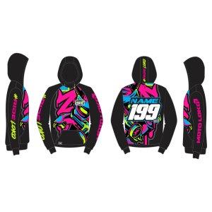 Graffiti Graffiti customised motorsports hoodie showing front and back