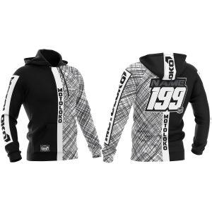 Front & back of black scribble motorsports customisable hoodie