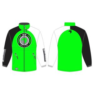 front & back of green born 2 race motorsports rain anorak