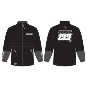 Black Fresh customised motorsports rain anorak showing front and back
