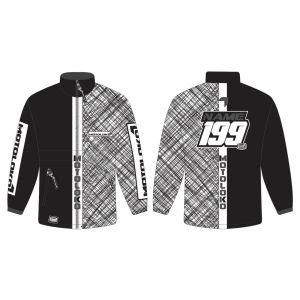 Black Scribble customised motorsports rain anorak showing front and back