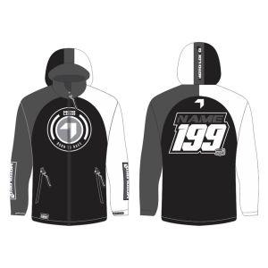 Black Born to Race customised motorsports softshell jacket showing front and back