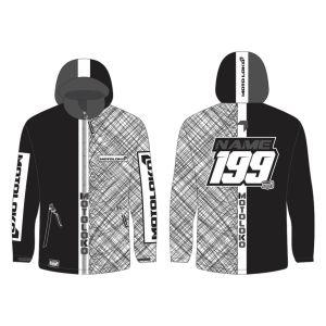 Black Scribble customised motorsports softshell jacket showing front and back