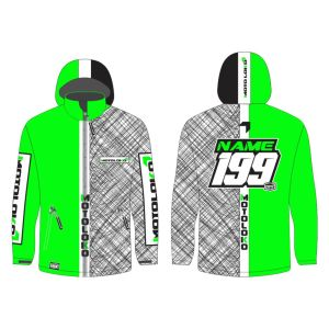 Green Scribble customised motorsports softshell jacket showing front and back