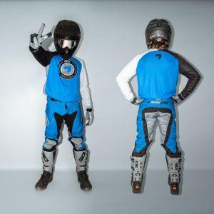 front & back view of model wearing blue born 2 race motorsports kit