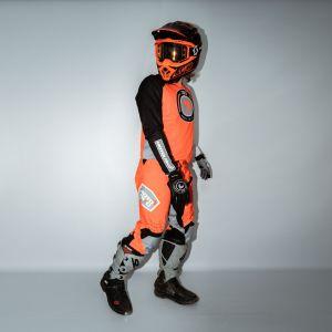 model showing side view of orange fresh motorsports kit