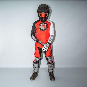 front view of model wearing orange born 2 race motocross kit