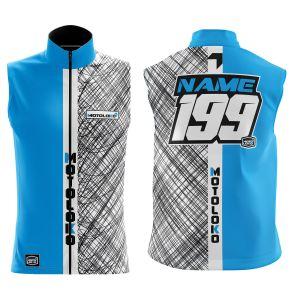 Front & back of blue scribble motorsports softshell bodywarmer