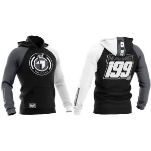 Front & back of black born 2 race motorsports customisable hoodie
