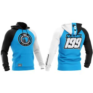 Front & back of blue born 2 race motorsports customisable hoodie