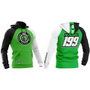 Front & back of green born 2 race motorsports customisable hoodie