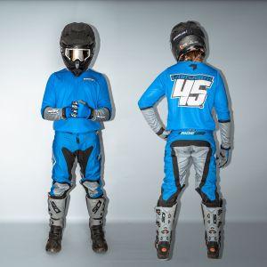 front & back view of model wearing blue fresh motorsports kite