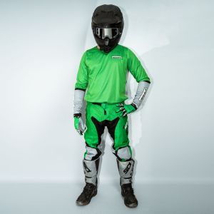 model wearing green fresh motorsports kit showing the front view
