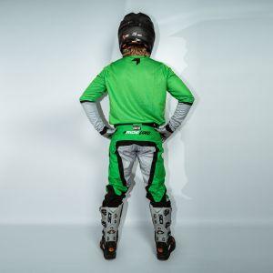 model wearing green fresh motorsports kit showing the back view