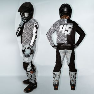 model wearing black scribble motorsports kit showing side and back view