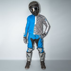 model showing front view of blue scribble motorsports kit
