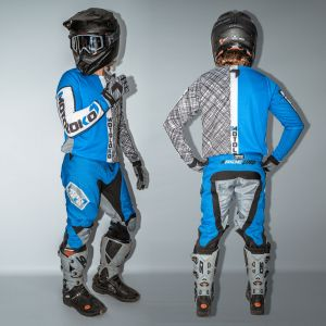 model showing front and back view of blue scribble motorsports kit