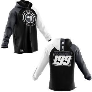 Front & back of black born 2 race motorsports customisable softshell jacket