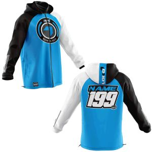 Front & back of blue  born 2 race motorsports softshell jacket