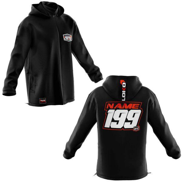 Front & back of black motorsports softshell jacket with orange customisation
