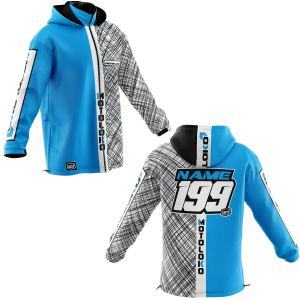 Front & back of blue scribble motorsports customisable softshell jacket