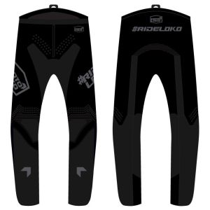 front & back view of all black engage motorsports pants