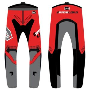 front & back view of red engage motorsports pants