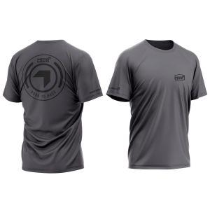 front & back of dark grey born 2 race motorsports t-shirt