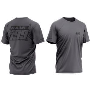 front & back of dark grey customised motorsports t-shirt
