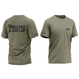 front & back of light khaki RideLoko motorsports t-shirt